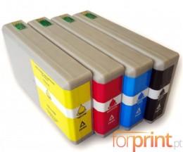 4 Cartuchos de tinta Compatibles, Epson T7011-T7014 / T7021-T7024 / T7031-T7034 Negro 59ml + Colores 35ml