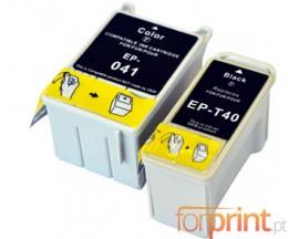 2 Cartuchos de tinta Compatibles, Epson T041 Colores 37.2ml + T040 Negro 17.8ml