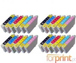 24 Cartuchos de tinta Compatibles, Epson T0801-T0806 Negro 13ml + Colores 13ml