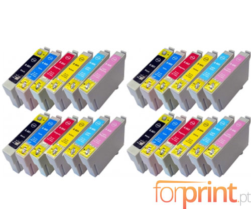 24 Cartuchos de tinta Compatibles, Epson T0801-T0806 Negro 13ml + Colores 13ml