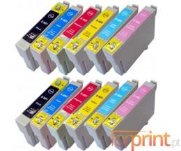 12 Cartuchos de tinta Compatibles, Epson T0801-T0806 Negro 13ml + Colores 13ml