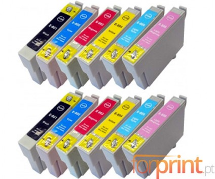 12 Cartuchos de tinta Compatibles, Epson T0801-T0806 Negro 13ml + Colores 13ml