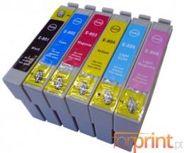 6 Cartuchos de tinta Compatibles, Epson T0801-T0806 Negro 13ml + Colores 13ml
