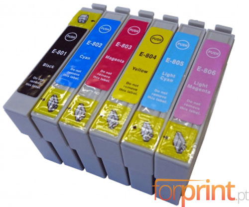 6 Cartuchos de tinta Compatibles, Epson T0801-T0806 Negro 13ml + Colores 13ml