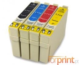 4 Cartuchos de tinta Compatibles, Epson T0711-T0714 Negro 13ml + Colores 13ml