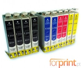 10 Cartuchos de tinta Compatibles, Epson T0711-T0714 Negro 13ml + Colores 13ml