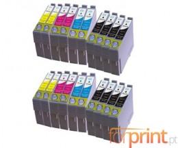 20 Cartuchos de tinta Compatibles, Epson T0711-T0714 Negro 13ml + Colores 13ml