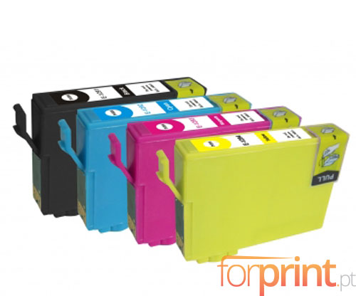 4 Cartuchos de tinta Compatibles, Epson T1291-T1294 Negro 15ml + Colores 13ml