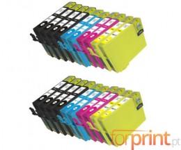 20 Cartuchos de tinta Compatibles, Epson T1291-T1294 Negro 15ml + Colores 13ml