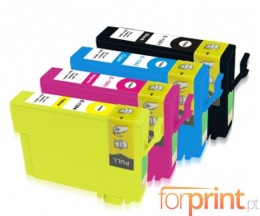 4 Cartuchos de tinta Compatibles, Epson T1281-T1284 Negro 13ml + Colores 6.6ml