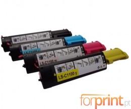 4 Cartuchos de Toneres Compatibles, Epson S050190 Negro + S05018X Colores ~ 4.000 Paginas