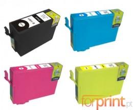 4 Cartuchos de tinta Compatibles, Epson T1301-T1304 Negro 33ml + Colores 14ml
