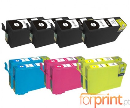 10 Cartuchos de tinta Compatibles, Epson T1301-T1304 Negro 33ml + Colores 14ml