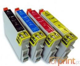 4 Cartuchos de tinta Compatibles, Epson T0441-T0444 Negro 17ml + Colores 17ml