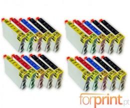 20 Cartuchos de tinta Compatibles, Epson T0441-T0444 Negro 17ml + Colores 17ml