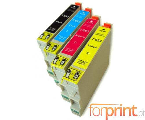 4 Cartuchos de tinta Compatibles, Epson T0551-T0554 Negro 17ml + Colores 16ml