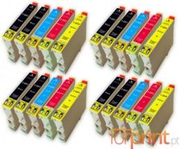 20 Cartuchos de tinta Compatibles, Epson T0551-T0554 Negro 17ml + Colores 16ml