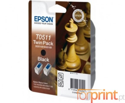 2 Cartuchos de tinta Originales, Epson T0511 Negro 24ml