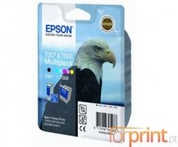 2 Cartuchos de tinta Originales, Epson T007 Negro 16ml + T008 Colores 46ml