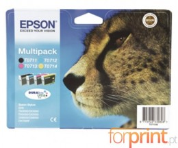 4 Cartuchos de tinta Originales, Epson T0711-T0714 Negro 7.4ml + Colores 5.5ml