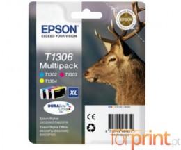 3 Cartuchos de tinta Originales, Epson T1302-T1304 Colores 10.1ml