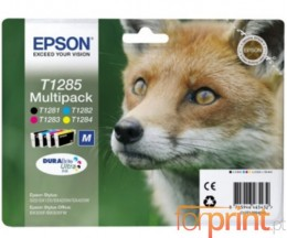 4 Cartuchos de tinta Originales, Epson T1281-T1284 Negro 6ml + Colores 3.5ml
