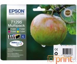 4 Cartuchos de tinta Originales, Epson T1291-T1294 Negro 12ml + Colores 7ml