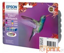 6 Cartuchos de tinta Originales, Epson T0801-T0806 Negro 7.4ml + Colores 7.2ml