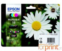 4 Cartuchos de tinta Originales, Epson T1801-T1804 Negro 5.2ml + Colores 3.3ml