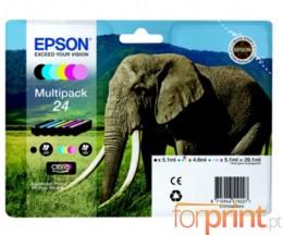6 Cartuchos de tinta Originales, Epson T2421-T2426 Negro 5ml + Colores 5ml