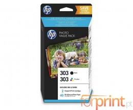 2 Cartuchos de tinta Originales, HP 303 Negro 4ml + Colores 4ml + 40 Hojas 10x15cm
