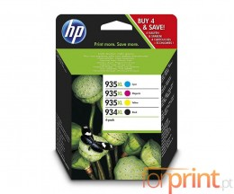 4 Cartuchos de Tinta Originales, HP 934 XL Negro + HP 935 XL Colores ~ 1.000 / 825 Paginas