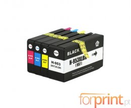 4 Cartuchos de Tinta Compatibles, HP 953 XL / HP 957 XL Negro 56ml + Colores 26ml