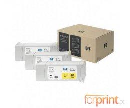 3 Cartuchos de tinta Originales, HP 81 Amarillo 680ml