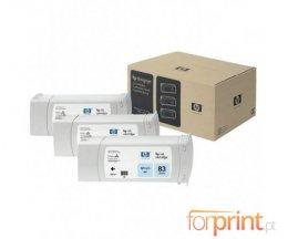 3 Cartuchos de tinta Originales, HP 83 Cyan Photo 680ml UV