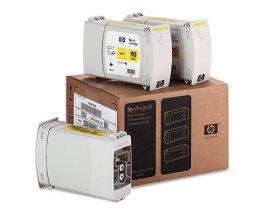 3 Cartuchos de tinta Originales, HP 90 Amarillo 400ml