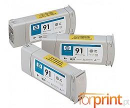 3 Cartuchos de tinta Originales, HP 91 Gris Claro 775ml