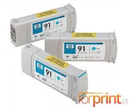 3 Cartuchos de tinta Originales, HP 91 Cyan 775ml