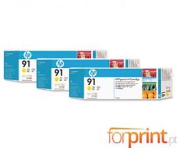 3 Cartuchos de tinta Originales, HP 91 Amarillo 775ml