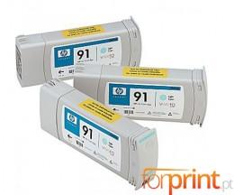 3 Cartuchos de tinta Originales, HP 91 Cyan Claro 775ml