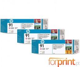 3 Cartuchos de tinta Originales, HP 91 Magenta Claro 775ml