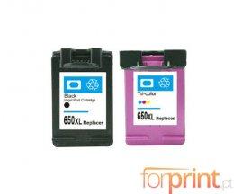 2 Cartuchos de Tinta Compatibles, HP 650 XL Negro 20ml + Colores 17ml
