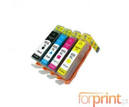 4 Cartuchos de Tinta Compatibles, HP 655 Negro 22ml + Colores 13ml