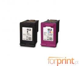 2 Cartuchos de Tinta Compatibles, HP 652 XL Negro 20ml + Colores 18ml