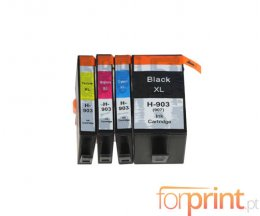4 Cartuchos de Tinta Compatibles, HP 903 XL / 907 XL Negro 37ml + Colores 14ml ~ 1.500 / 1.200 Paginas