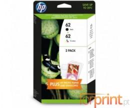 2 Cartuchos de tinta Originales, HP 62 Negro + Colores