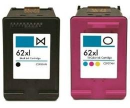 2 Cartuchos de Tinta Compatibles, HP 62 XL Negro 20ml + Colores 18ml