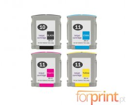 4 Cartuchos de Tinta Compatibles, HP 10 Negro + HP 11 Colores 28ml