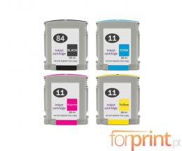 4 Cartuchos de Tinta Compatibles, HP 84 Negro 69ml + HP 11 Colores 28ml