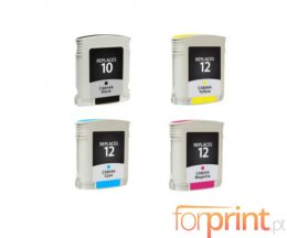 4 Cartuchos de Tinta Compatibles, HP 10 Preto 69ml + HP 12 Colores 69ml